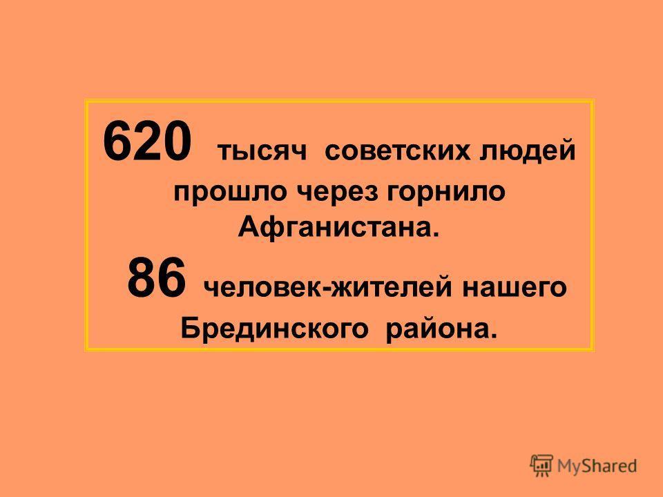 620 тысяч советских людей прошло через горнило Афганистана. 86 человек-жителей нашего Брединского района.