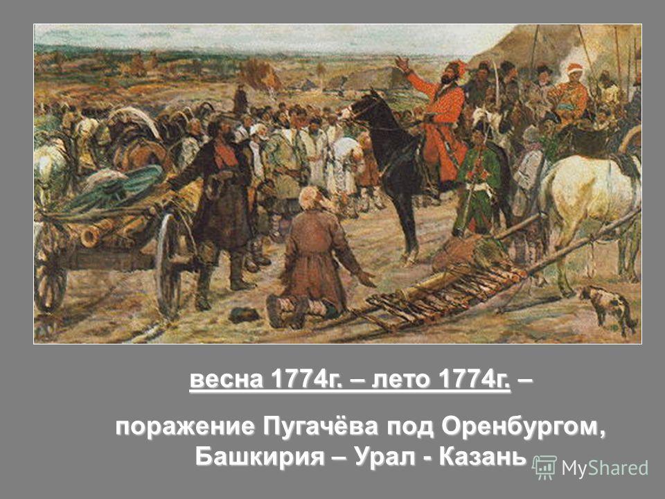 весна 1774г. – лето 1774г. – поражение Пугачёва под Оренбургом, Башкирия – Урал - Казань
