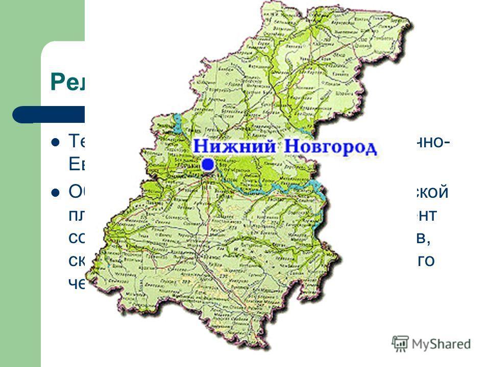 Рельеф области Территория области – это часть Восточно- Европейской равнины. Область расположена на древней Русской платформе. Кристаллический фундамент состоит из гранитов, гнейсов, кварцитов, скрытых под мощной толщей осадочного чехла (1000-3000м).
