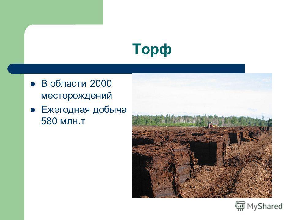 Торф В области 2000 месторождений Ежегодная добыча 580 млн.т