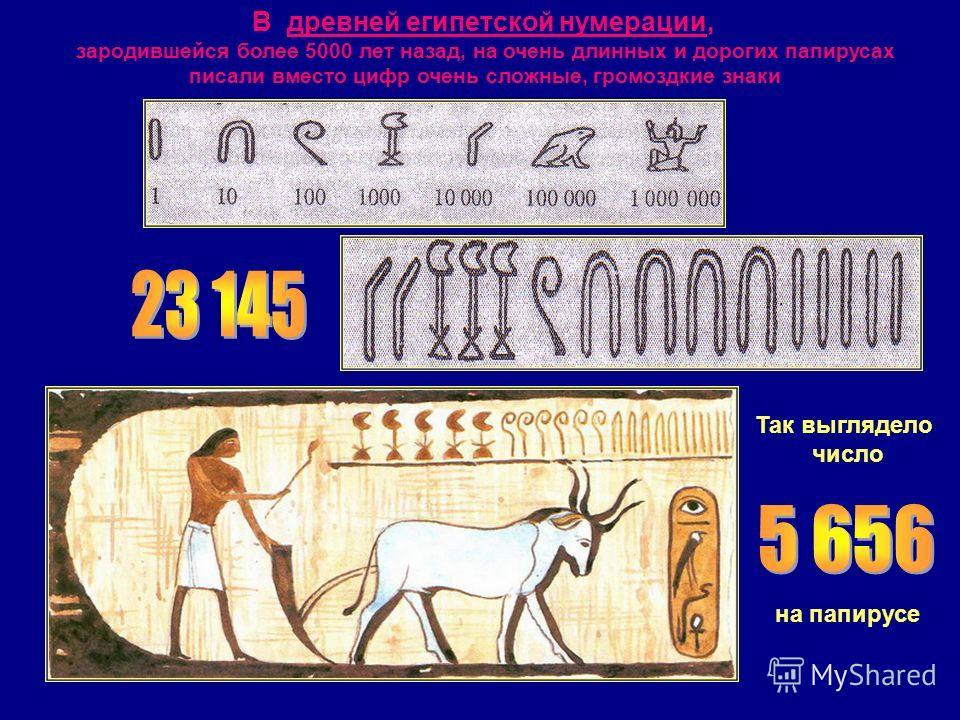 В древней египетской нумерации, зародившейся более 5000 лет назад, на очень длинных и дорогих папирусах писали вместо цифр очень сложные, громоздкие знаки Так выглядело число на папирусе