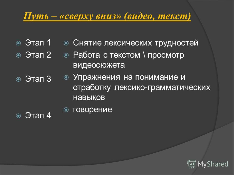 Путь – «сверху вниз» (видео, текст) Этап 1 Этап 2 Этап 3 Этап 4 Снятие лексических трудностей Работа с текстом \ просмотр видеосюжета Упражнения на понимание и отработку лексико-грамматических навыков говорение