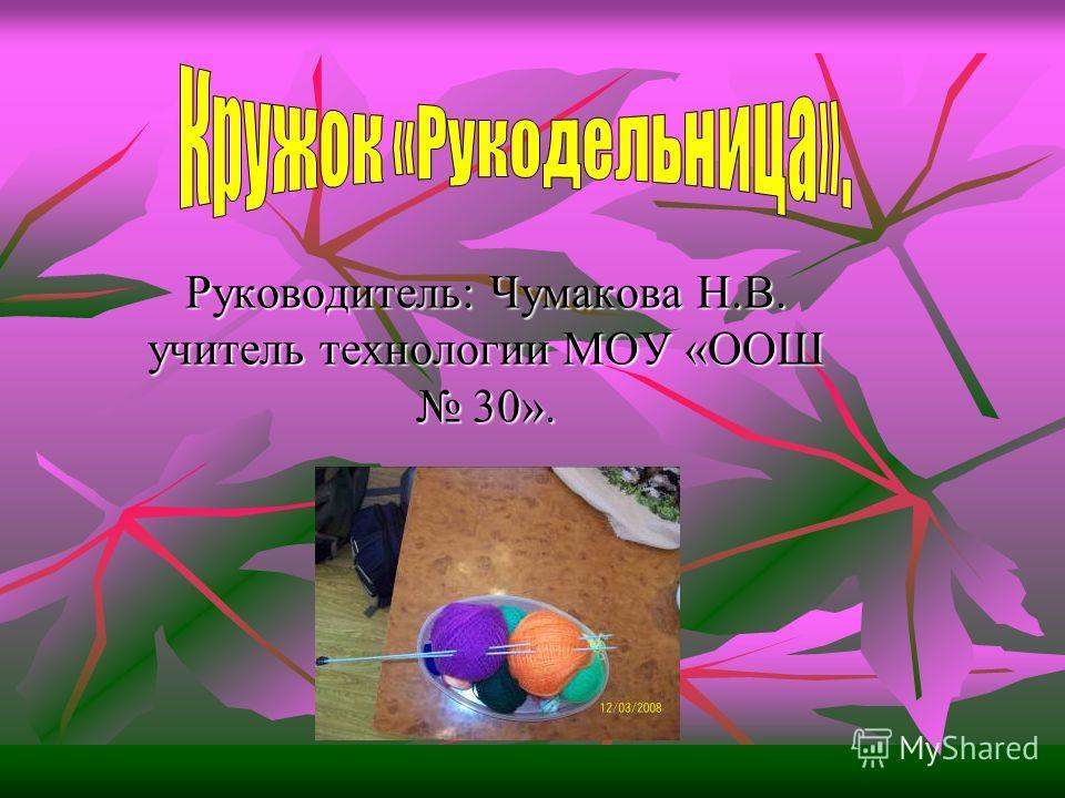 Руководитель: Чумакова Н.В. учитель технологии МОУ «ООШ 30».