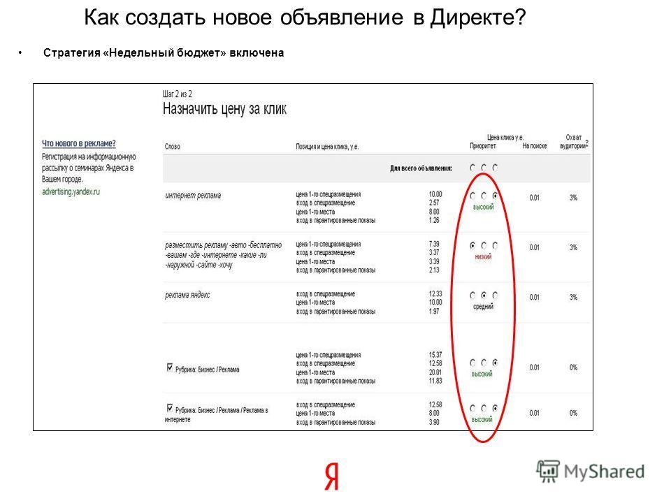 23 Стратегия «Недельный бюджет» включена Как создать новое объявление в Директе?