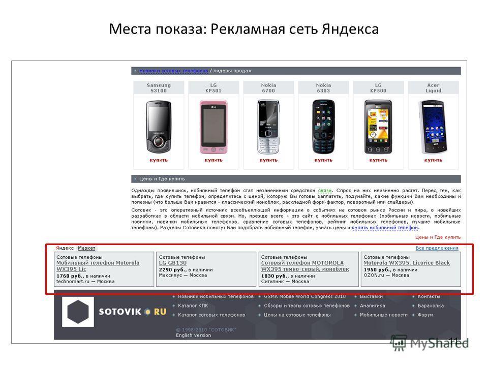 Места показа: Рекламная сеть Яндекса 11