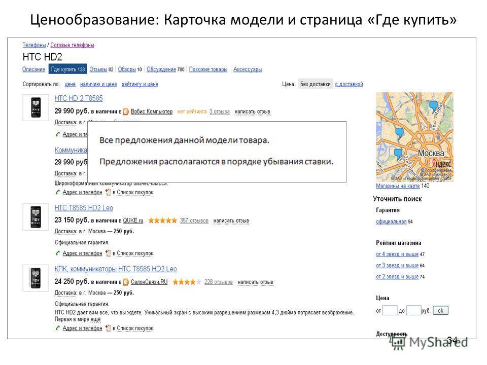 Ценообразование: Карточка модели и страница «Где купить» 34