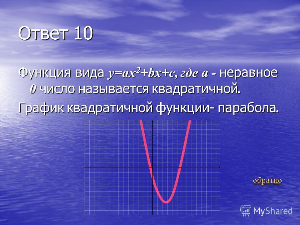 З-7 10 очков Какая функция называется квадратичной и как называется график квадратичной функции? Какая функция называется квадратичной и как называется график квадратичной функции? ответ