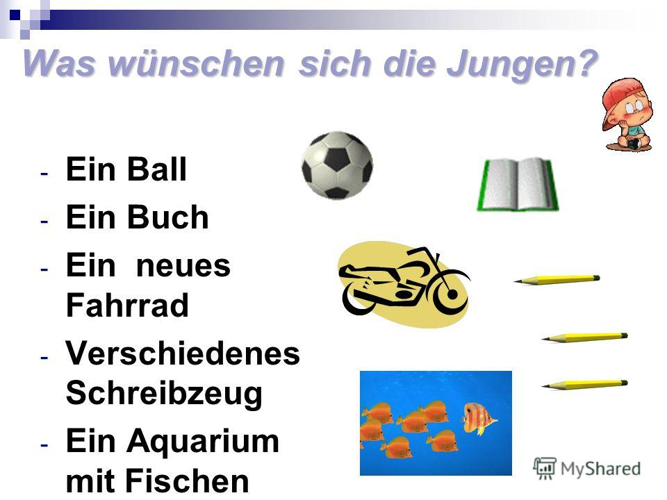 Was wünschen sich die Jungen? - Ein Ball - Ein Buch - Ein neues Fahrrad - Verschiedenes Schreibzeug - Ein Aquarium mit Fischen