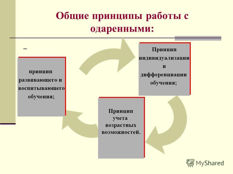 Общие принципы работы с одаренными: – Принцип индивидуализации и дифференциации обучения; Принцип учета возрастных возможностей. принцип развивающего и воспитывающего обучения;