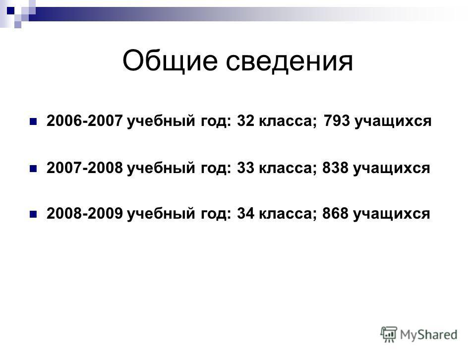 Общие сведения 2006-2007 учебный год: 32 класса; 793 учащихся 2007-2008 учебный год: 33 класса; 838 учащихся 2008-2009 учебный год: 34 класса; 868 учащихся