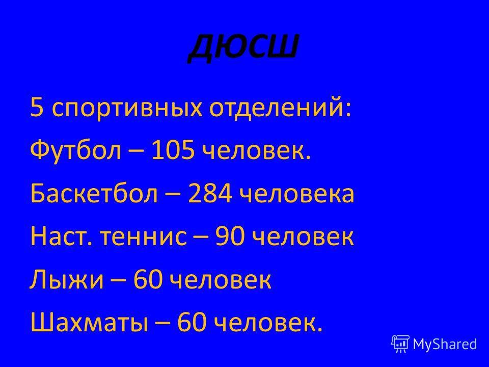 ДЮСШ 5 спортивных отделений: Футбол – 105 человек. Баскетбол – 284 человека Наст. теннис – 90 человек Лыжи – 60 человек Шахматы – 60 человек.