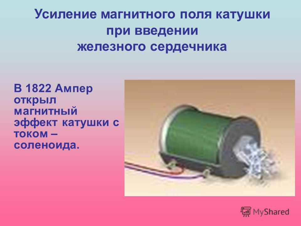 Усиление магнитного поля катушки при введении железного сердечника В 1822 Ампер открыл магнитный эффект катушки с током – соленоида.