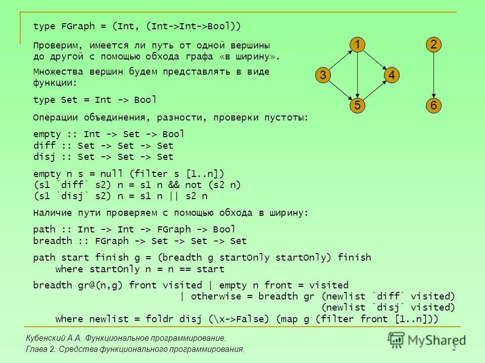 2 Кубенский А.А. Функциональное программирование. Глава 2. Средства функционального программирования. 2 6 4 1 3 5 type FGraph = (Int, (Int->Int->Bool)) Проверим, имеется ли путь от одной вершины до другой с помощью обхода графа «в ширину». Множества