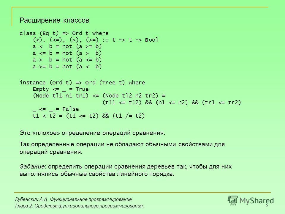 6 Кубенский А.А. Функциональное программирование. Глава 2. Средства функционального программирования. Расширение классов class (Eq t) => Ord t where ( ), (>=) :: t -> t -> Bool a = b) a b) a > b = not (a = b = not (a < b) instance (Ord t) => Ord (Tre