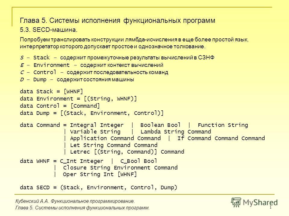 1 Кубенский А.А. Функциональное программирование. Глава 5. Системы исполнения функциональных программ. Глава 5. Системы исполнения функциональных программ 5.3. SECD-машина. Попробуем транслировать конструкции лямбда-исчисления в еще более простой язы