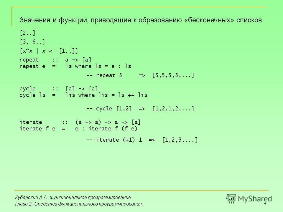 4 Кубенский А.А. Функциональное программирование. Глава 2. Средства функционального программирования. Значения и функции, приводящие к образованию «бесконечных» списков [2..] [3, 6..] [x*x | x  [a] repeat e = ls where ls = e : ls cycle :: [a] -> [a]