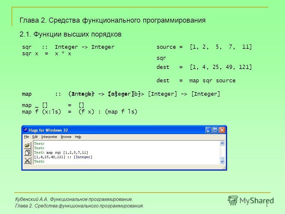 1 Глава 2. Средства функционального программирования Кубенский А.А. Функциональное программирование. Глава 2. Средства функционального программирования. 2.1. Функции высших порядков sqr :: Integer -> Integer sqr x = x * x source = [1, 2, 5, 7, 11] de