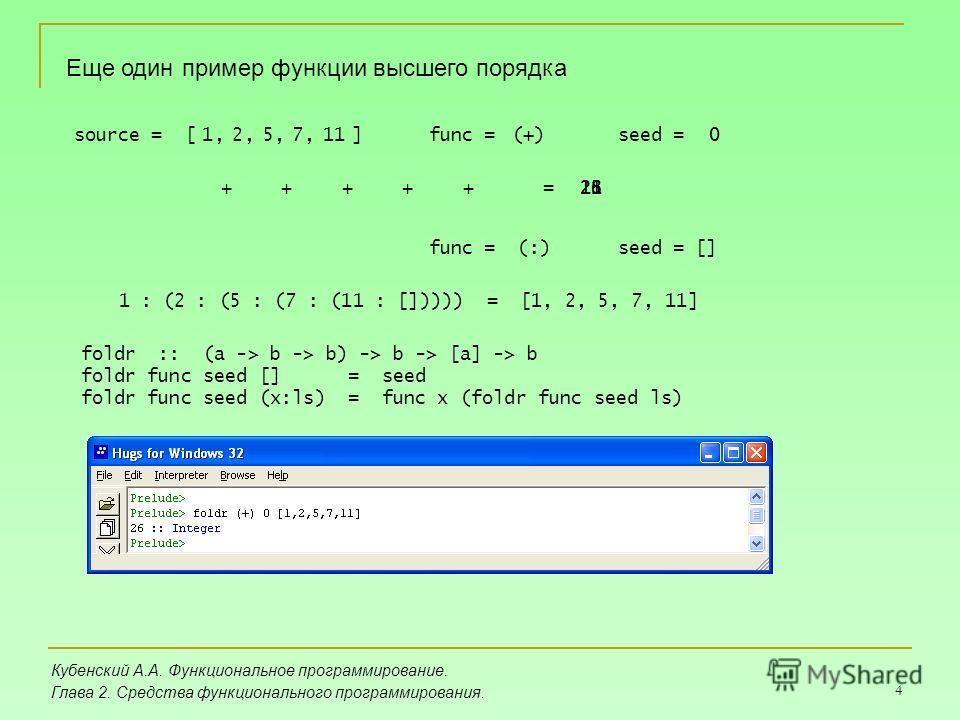 4 Кубенский А.А. Функциональное программирование. Глава 2. Средства функционального программирования. Еще один пример функции высшего порядка source = [ ]0117521,func =seed = + + + (+)0, +, +, +=1118232526 func = (:)seed = [] 1 : (2 : (5 : (7 : (11 :