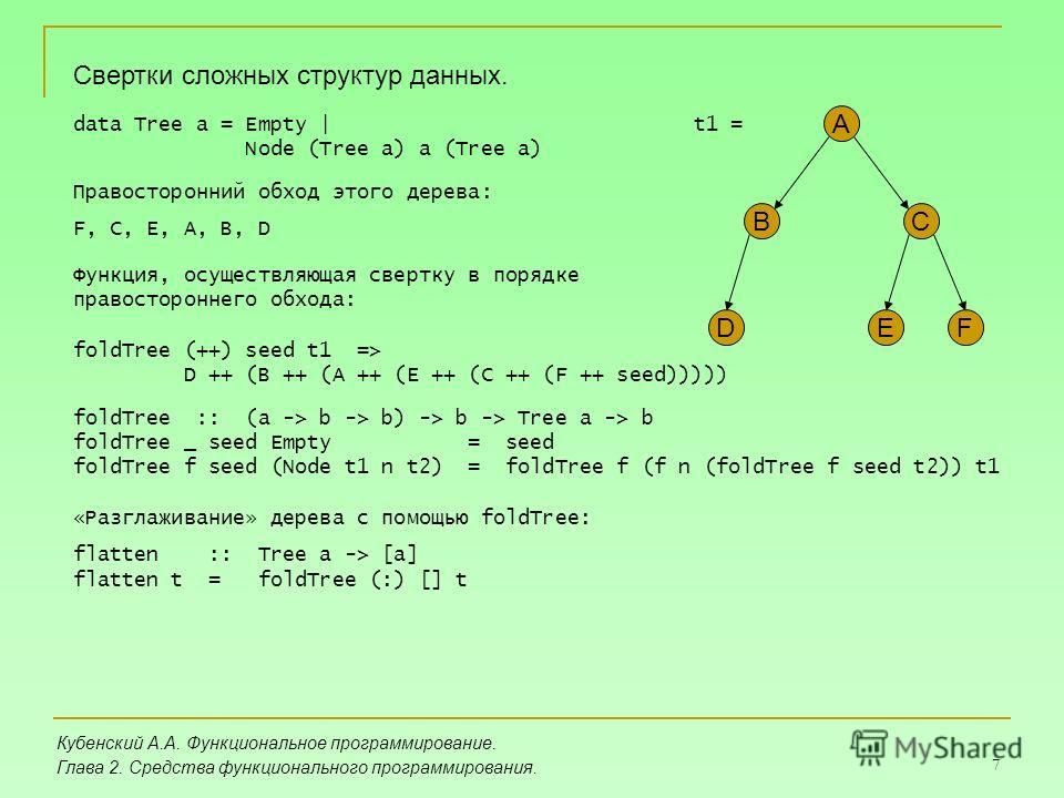 7 Кубенский А.А. Функциональное программирование. Глава 2. Средства функционального программирования. Свертки сложных структур данных. data Tree a = Empty | Node (Tree a) a (Tree a) A BC DEF Правосторонний обход этого дерева: F, C, E, A, B, D Функция