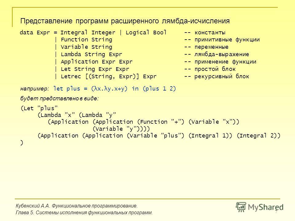 7 Кубенский А.А. Функциональное программирование. Глава 5. Системы исполнения функциональных программ. Представление программ расширенного лямбда-исчисления data Expr = Integral Integer | Logical Bool -- константы | Function String -- примитивные фун