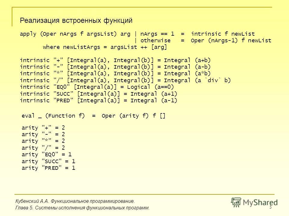 5 Кубенский А.А. Функциональное программирование. Глава 5. Системы исполнения функциональных программ. Реализация встроенных функций intrinsic