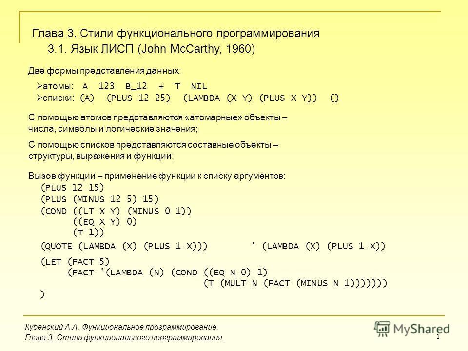 1 Кубенский А.А. Функциональное программирование. Глава 3. Стили функционального программирования. Глава 3. Стили функционального программирования 3.1. Язык ЛИСП (John McCarthy, 1960) Две формы представления данных: атомы: A 123 B_12 + T NIL списки: