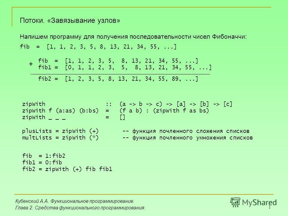 1 Кубенский А.А. Функциональное программирование. Глава 2. Средства функционального программирования. Потоки. «Завязывание узлов» Напишем программу для получения последовательности чисел Фибоначчи: fib = [1, 1, 2, 3, 5, 8, 13, 21, 34, 55,...] fib1 =