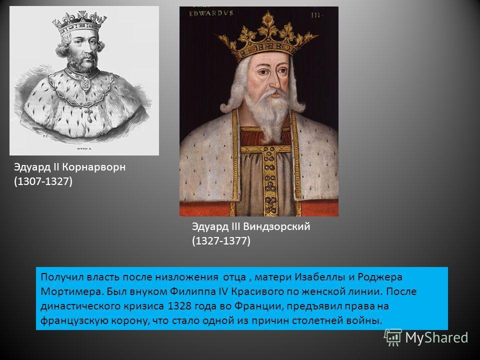 Эдуард ΙΙ Корнарворн (1307-1327) Эдуард ӏӏӏ Виндзорский (1327-1377) Получил власть после низложения отца, матери Изабеллы и Роджера Мортимера. Был внуком Филиппа ӏV Красивого по женской линии. После династического кризиса 1328 года во Франции, предъя