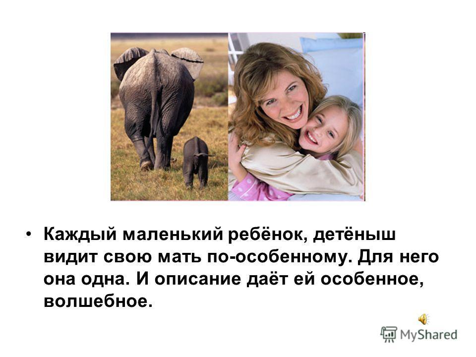 Каждый маленький ребёнок, детёныш видит свою мать по-особенному. Для него она одна. И описание даёт ей особенное, волшебное.