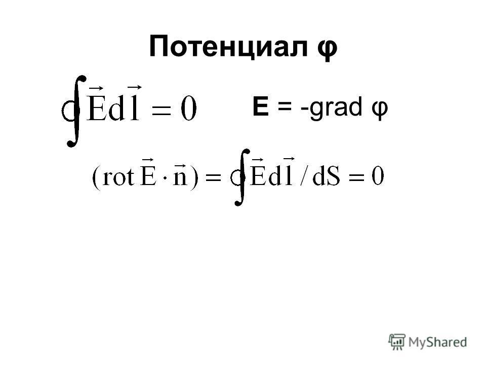 Потенциал φ E = -grad φ