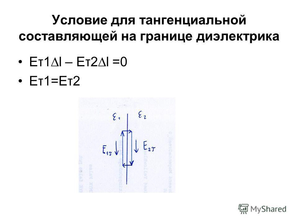 Условие для тангенциальной составляющей на границе диэлектрика Еτ1l – Еτ2l =0 Еτ1=Еτ2