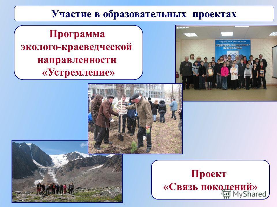 Участие в образовательных проектах Программа эколого-краеведческой направленности «Устремление» Проект «Связь поколений»