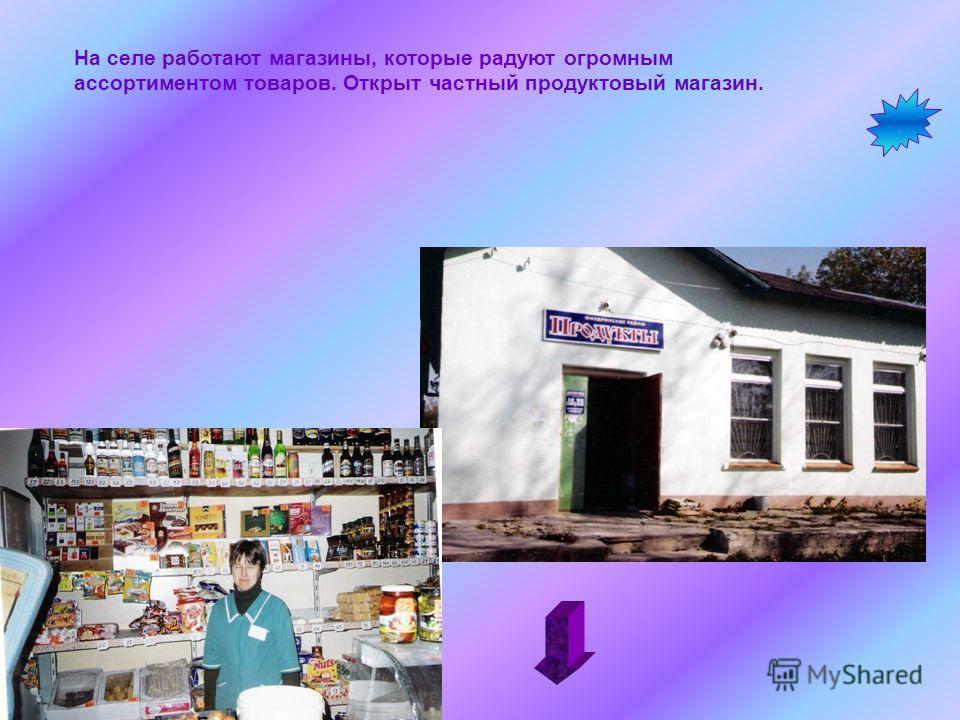 На селе работают магазины, которые радуют огромным ассортиментом товаров. Открыт частный продуктовый магазин.
