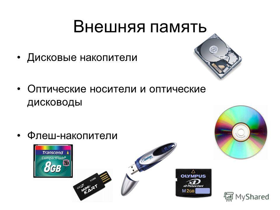 Внешняя память Дисковые накопители Оптические носители и оптические дисководы Флеш-накопители