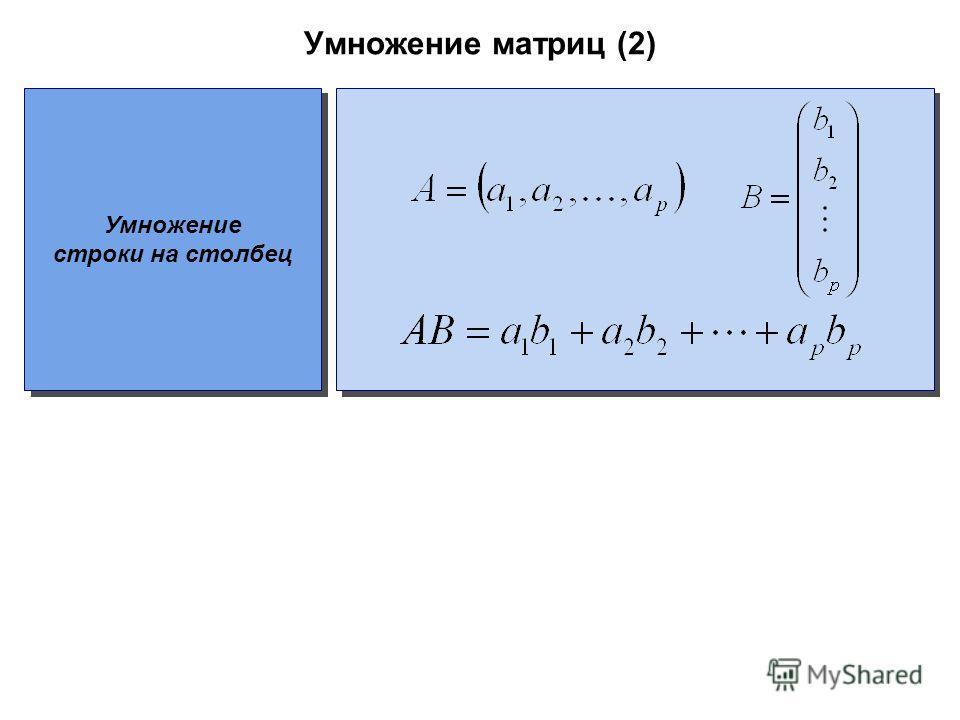 Умножение матриц (2) Умножение строки на столбец