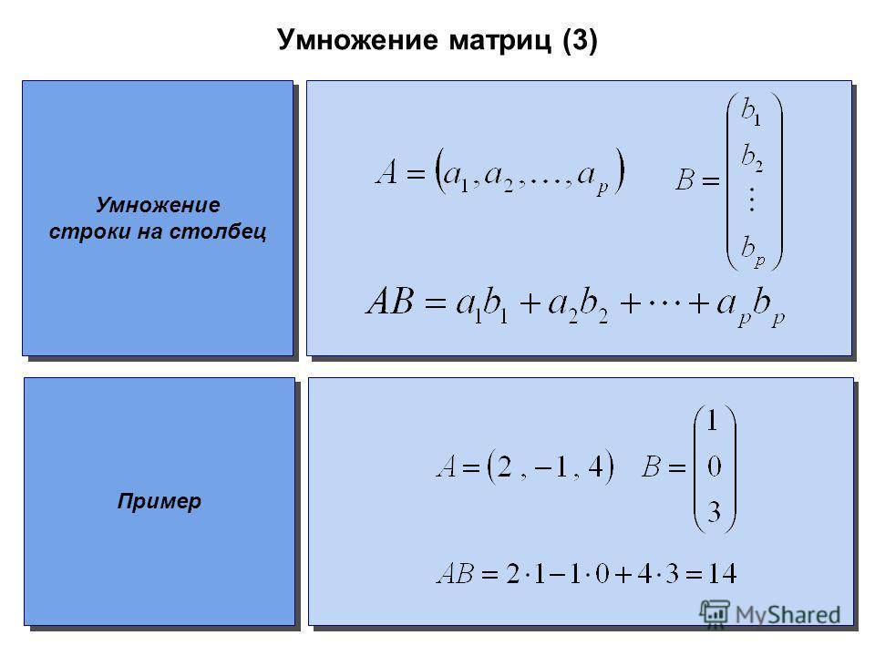 Умножение матриц (3) Умножение строки на столбец Пример