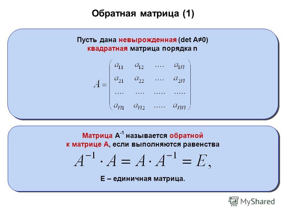 Обратная матрица (1) Пусть дана невырожденная (det A0) квадратная матрица порядка n Матрица А -1 называется обратной к матрице А, если выполняются равенства Е – единичная матрица.
