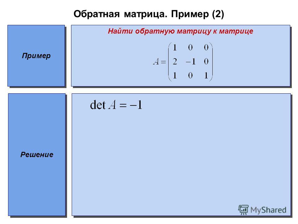 Обратная матрица. Пример (2) Пример Найти обратную матрицу к матрице Решение