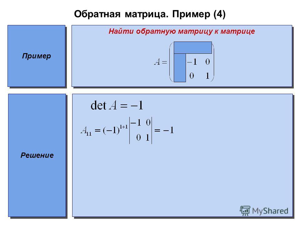 Обратная матрица. Пример (4) Пример Найти обратную матрицу к матрице Решение