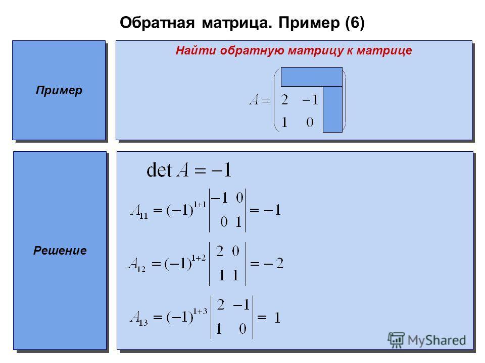 Обратная матрица. Пример (6) Пример Найти обратную матрицу к матрице Решение