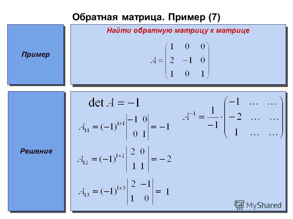 Обратная матрица. Пример (7) Пример Найти обратную матрицу к матрице Решение