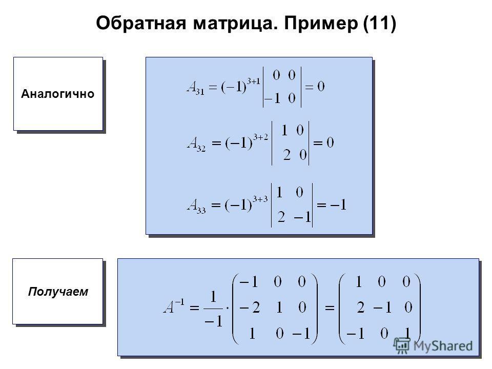 Обратная матрица. Пример (11) Аналогично Получаем