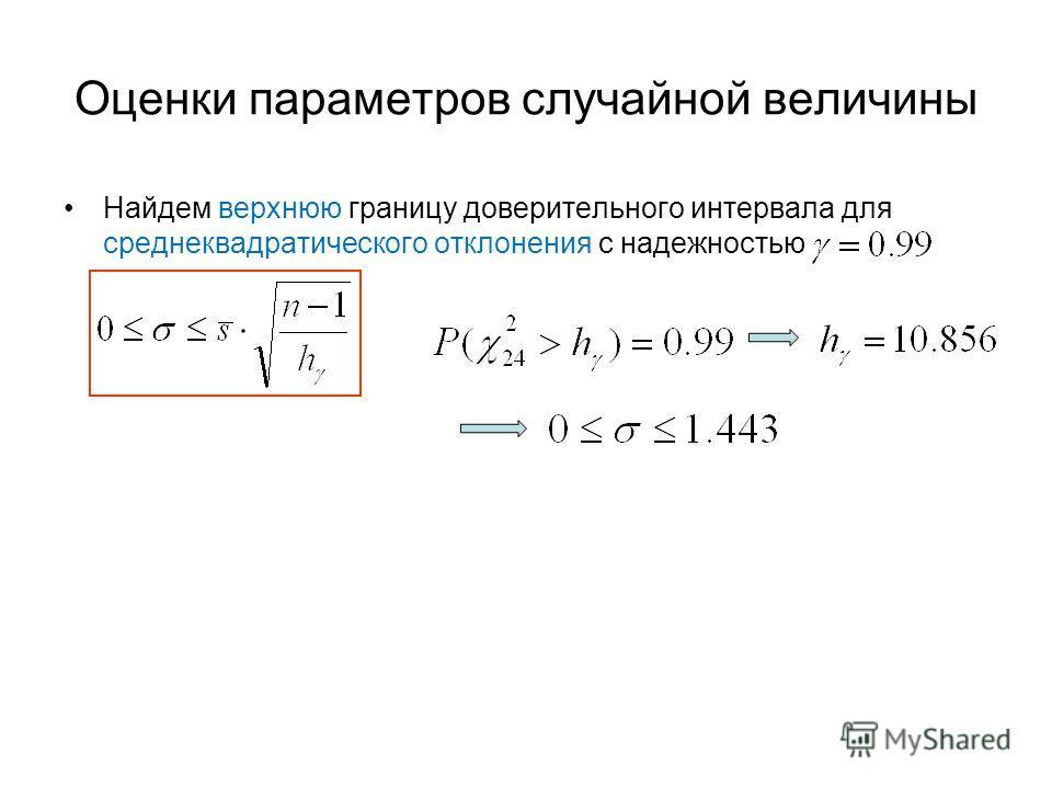 Оценки параметров случайной величины Найдем верхнюю границу доверительного интервала для среднеквадратического отклонения с надежностью