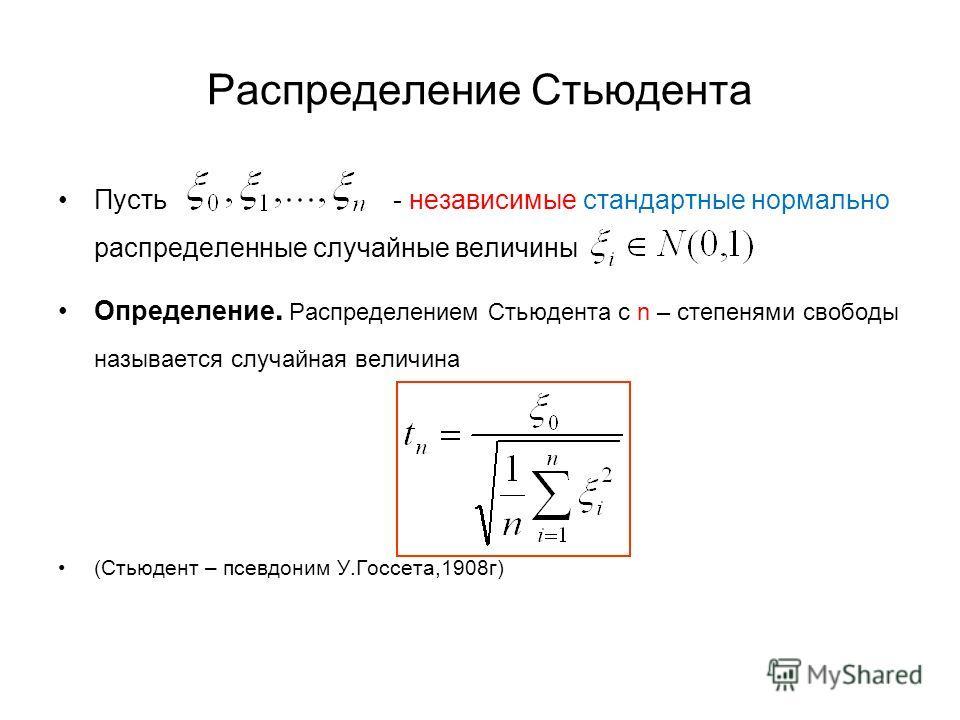 Распределение Стьюдента Пусть - независимые стандартные нормально распределенные случайные величины Определение. Распределением Стьюдента с n – степенями свободы называется случайная величина (Стьюдент – псевдоним У.Госсета,1908г)