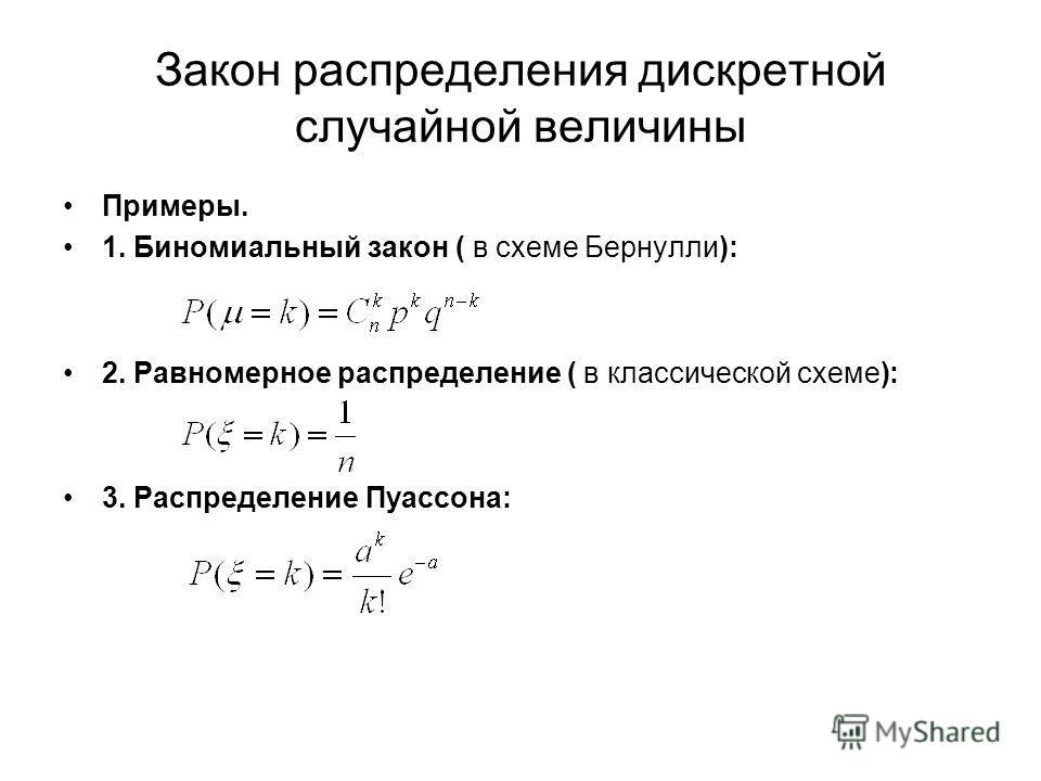 Закон распределения дискретной случайной величины Примеры. 1. Биномиальный закон ( в схеме Бернулли): 2. Равномерное распределение ( в классической схеме): 3. Распределение Пуассона: