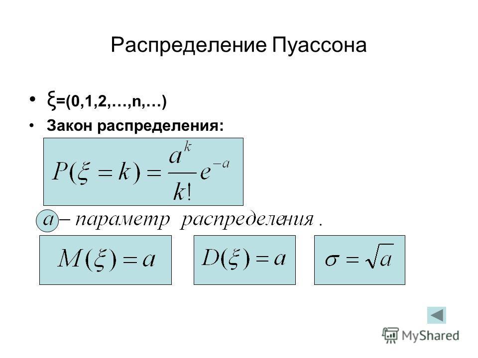 Распределение Пуассона ξ =(0,1,2,…,n,…) Закон распределения: