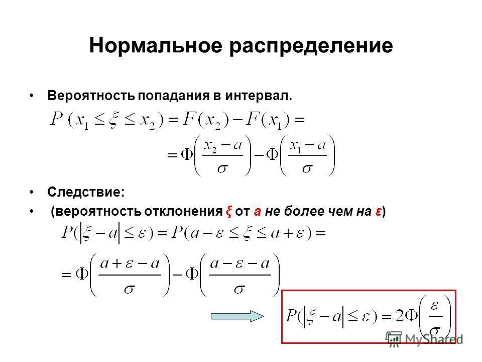 Нормальное распределение Вероятность попадания в интервал. Следствие: (вероятность отклонения ξ от а не более чем на ε)
