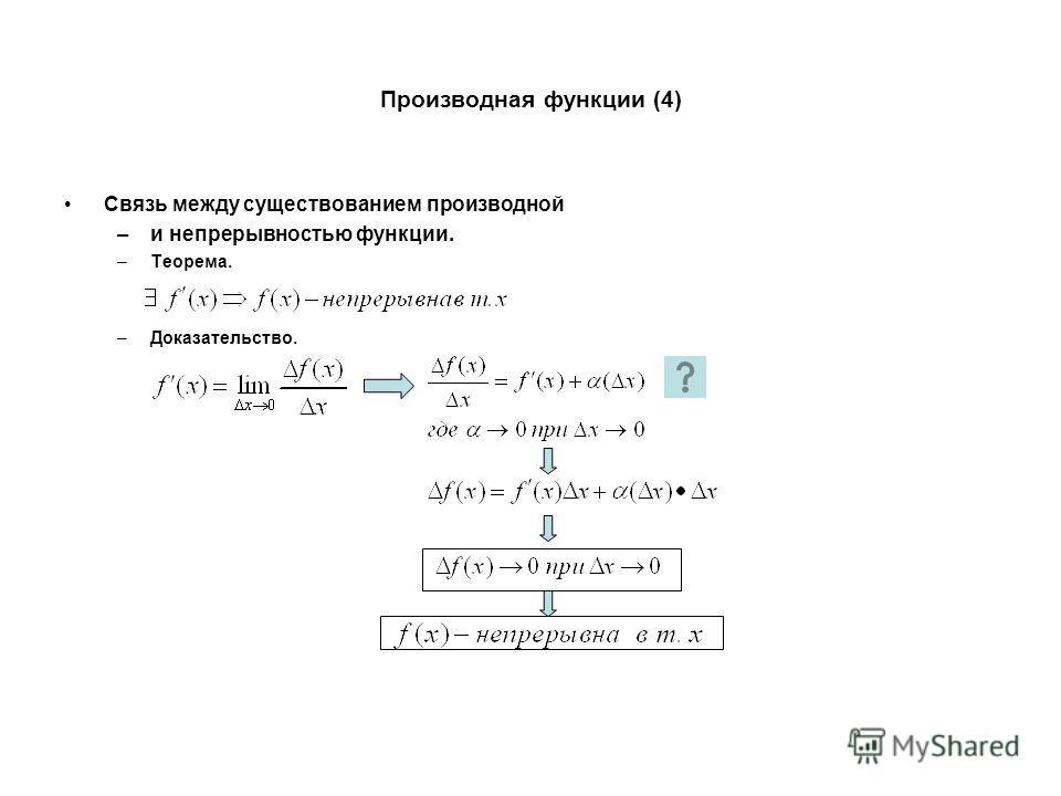 Производная функции (4) Связь между существованием производной –и непрерывностью функции. –Теорема. –Доказательство.