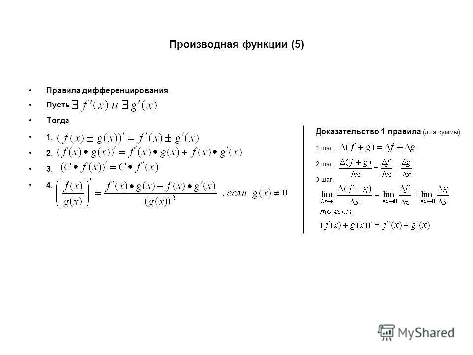 Производная функции (5) Правила дифференцирования. Пусть Тогда 1. 2. 3. 4. Доказательство 1 правила (для суммы). 1 шаг. 2 шаг. 3 шаг.