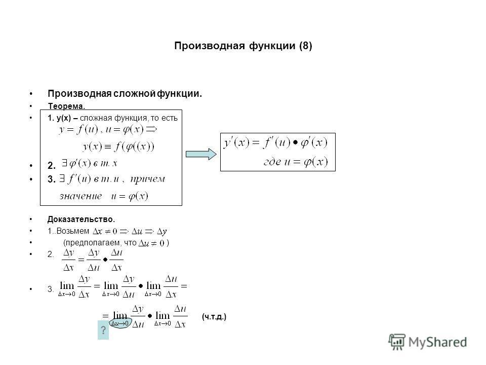Производная функции (8) Производная сложной функции. Теорема. 1. y(x) – сложная функция, то есть 2. 3. Доказательство. 1..Возьмем (предполагаем, что ) 2. 3. (ч.т.д.)